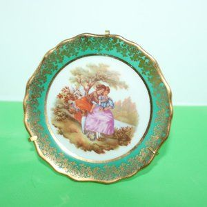 Limoges France Porcelain Lovers Plate with Stand